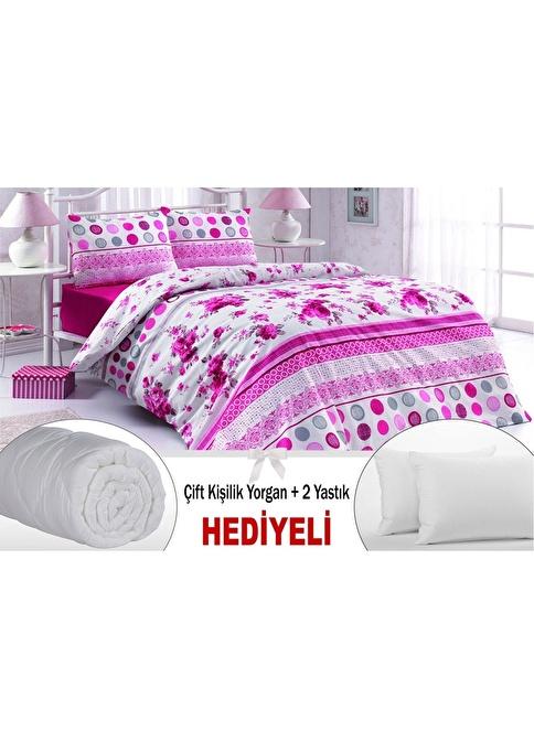 Dekoreko Çift Kişilik Nevresim Takımı + Yorgan + 2 Yastık Renkli